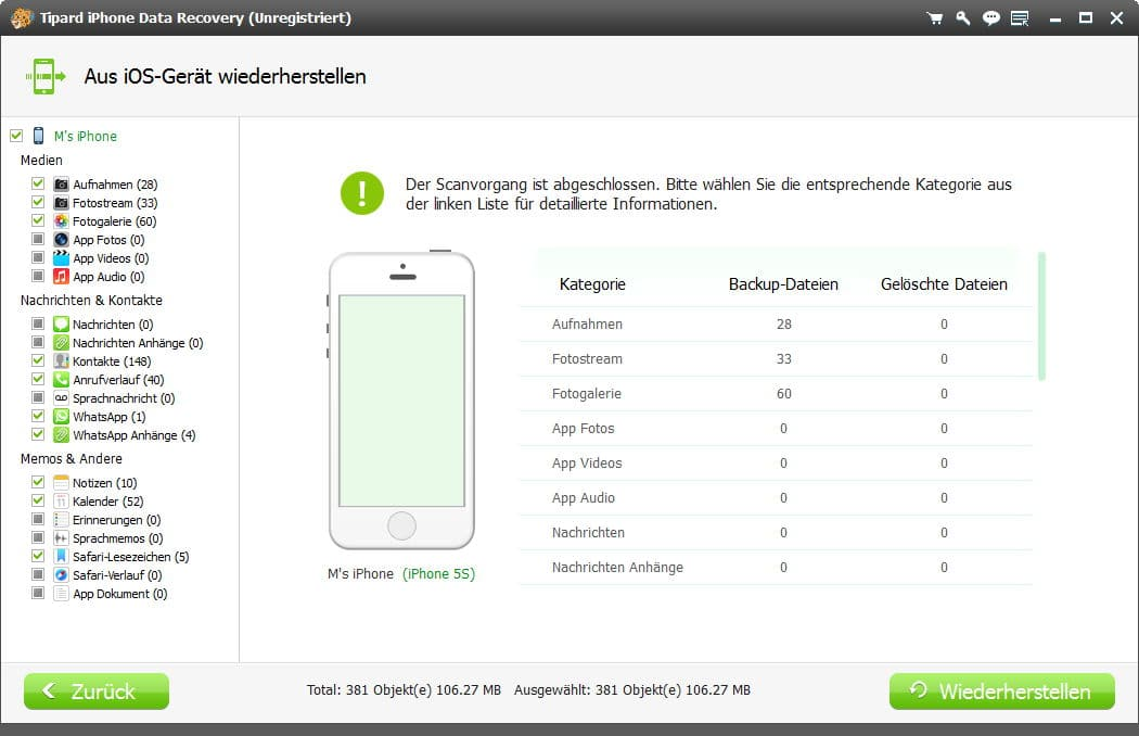 Tipard iPhone Data Recovery - Screenshot 3