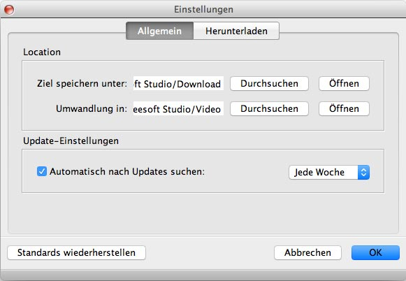 Aiseesoft Video Downloader Mac - Einstellungen