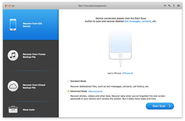 Aiseesoft Mac FoneLab iPhone Datenrettung - Screenshot 1