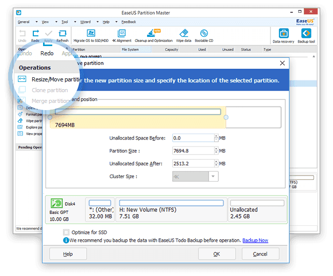 EaseUS Partition Master Professional 12.10 - Operations