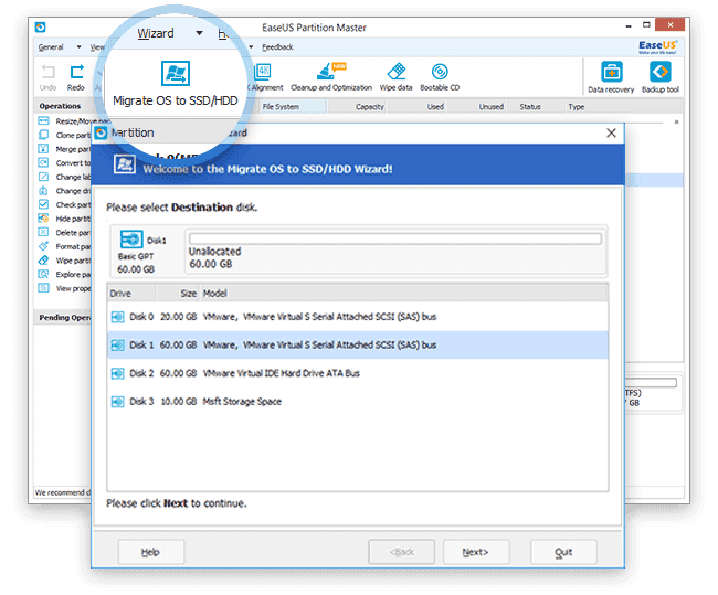 EaseUS Partition Master Professional 12.10 - Migrate OS to SSD/HDD
