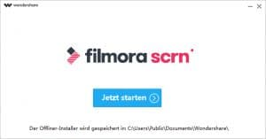 Wondershare filmora Windows - Startansicht
