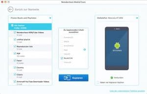 Wondershare MobileTrans Mac - Kopieren iTunes zu Android